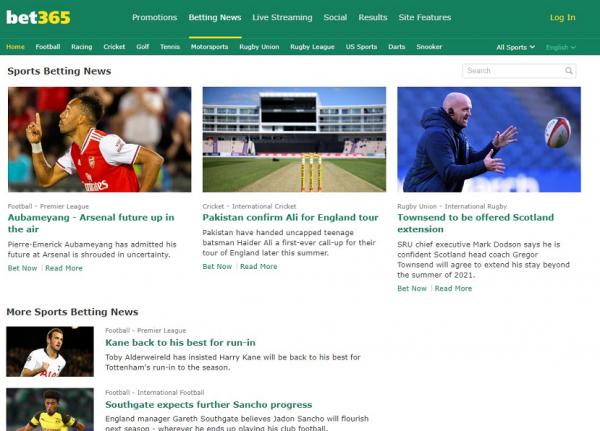 Спортивные новости на сайте Bet365